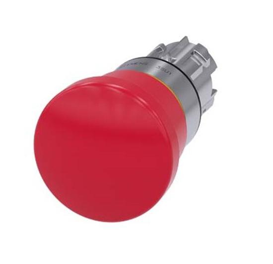 Immagine di Pulsante a fungo di ARRESTO DI EMERGENZA, 22 mm, rotondo, metallo, lucido, rosso, 40 mm