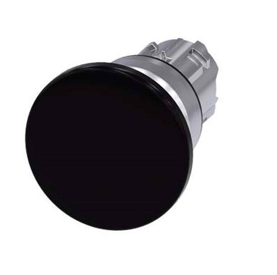 Immagine di Pulsante a fungo, 22 mm, rotondo, metallo, lucido, nero, 40 mm