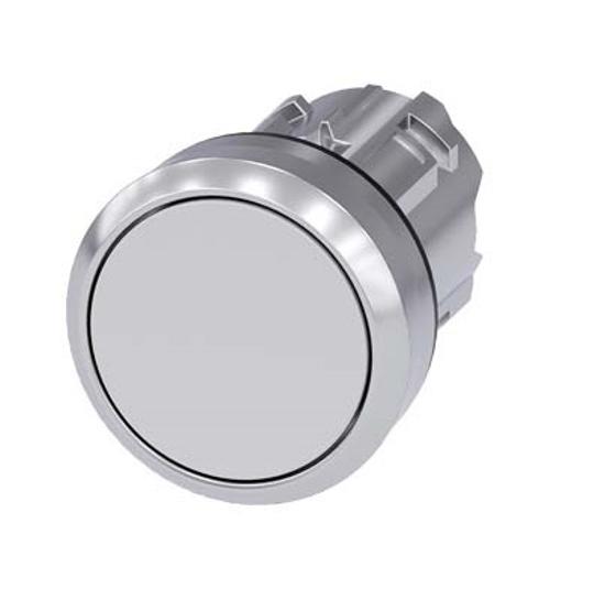 Immagine di Pulsante, 22 mm, rotondo, metallo, lucido, bianco