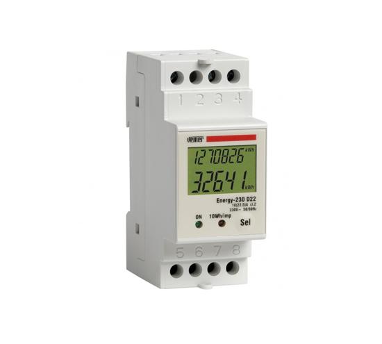 Immagine di VE044400  -  Contatore di energia da barra DIN con display lcd per sistemi monofase.