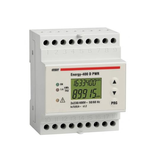 Immagine di VE119400 - Contatore di energia da barra DIN con display lcd, progettato per la visualizzazione dei consumi di energia attiva in sistemi trifase con o senza neutro.