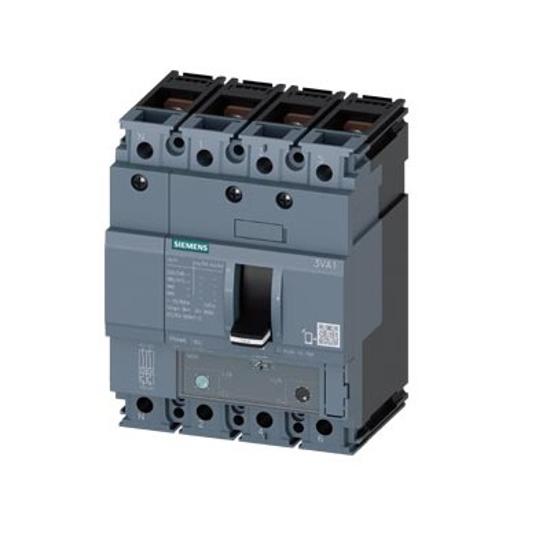 Immagine di Interruttore automatico 3VA1 IEC frame 160 classe del potere di interruzione N Icu=25kA @ 415V a 4 poli, protezione impianto TM240, ATAM, In=160A protezione da sovraccarico
