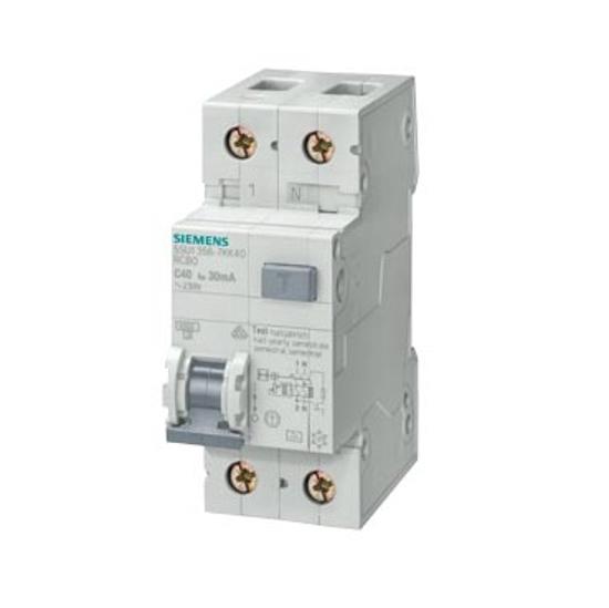 Immagine di Interruttore magnetotermico differenziale, 4,5 kA, 1P+N, Tipo AC, 30 mA, Car. C, In: 6 A, Un AC: 230 V