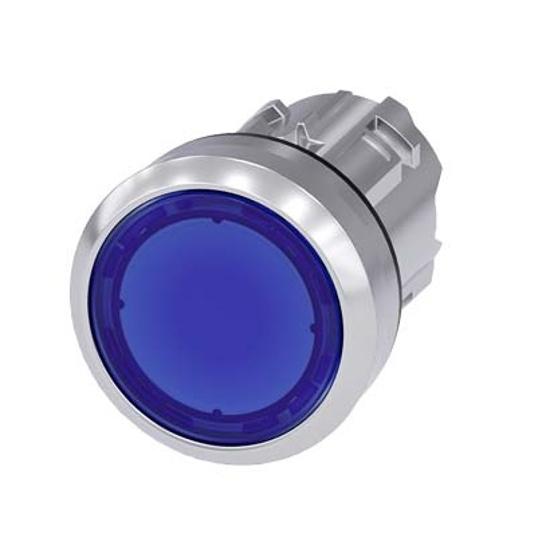 Immagine di Pulsante luminoso, 22 mm, rotondo, in metallo, lucido, blu, bottone, piatto, ad impulso