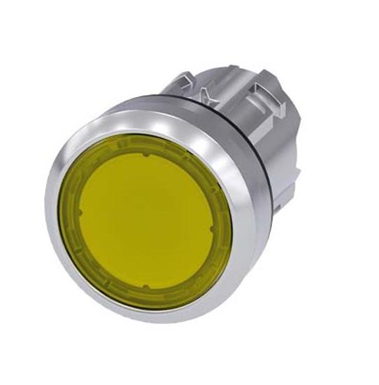 Immagine di Pulsante luminoso, 22 mm, rotondo, in metallo, lucido, giallo, bottone, piatto, ad impulso