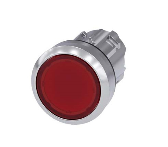 Immagine di Pulsante luminoso, 22 mm, rotondo, in metallo, lucido, rosso, bottone, piatto, ad impulso