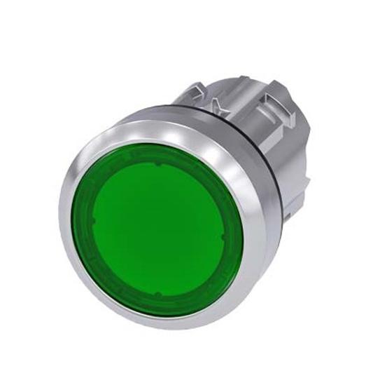 Immagine di Pulsante luminoso, 22 mm, rotondo, in metallo, lucido, verde, bottone, piatto, ad impulso