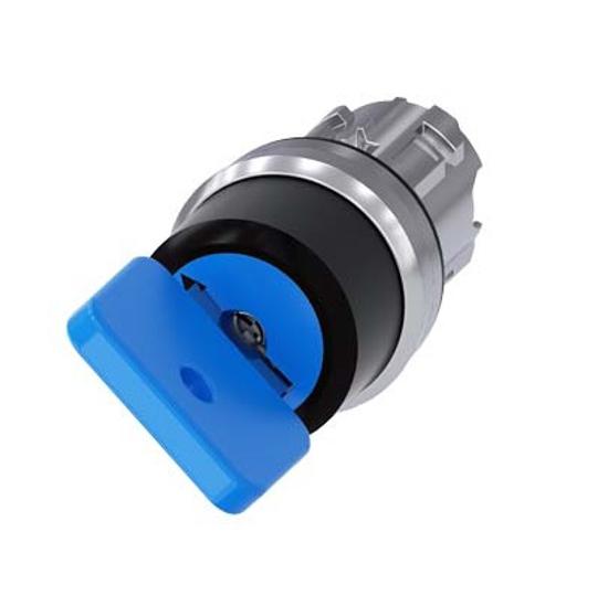 Immagine di Selettore a chiave O.M.R., 22 mm, rotondo, in metallo, lucido, numero serratura 73038, blu, con 2 chiavi, 2 posizioni