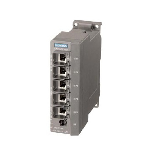 Immagine di SCALANCE X005, IE Entry Level Switch unmanaged 5x porte RJ45 da 10/100 Mbit/s, diagnostica LED, IP30, DC 24 V alimentazione di tensione