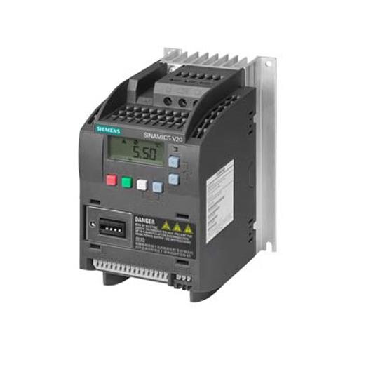 Immagine di SINAMICS V20 3AC 380 ... 480 V - 15/+ 10 % 47-6 potenza nominale 0,37 kW con sovraccarico del 150 % per 60 sec. non filtrato interfaccia I/O: 4 DI, 2 DO, 2 AI, 1 AO